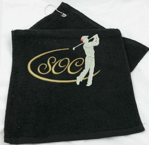 Golf Towel.  Golfer in Swing design with Personalised Initials.